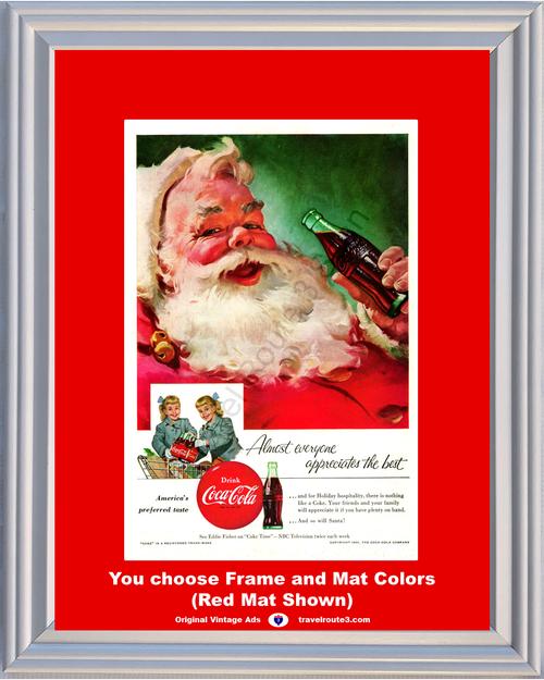 1955 55 Coca-Cola Santa Claus Drink Coke Twins Sisters Christmas Holiday Vintage Ad
