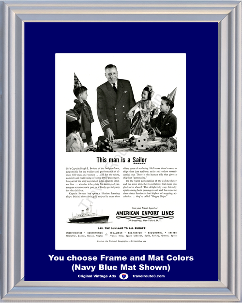 1955 55 American Export Lines Europe European Cruise Sailor Vacation Travel Vintage Ad
