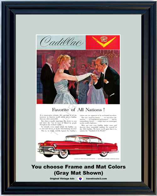 1955 55 Cadillac Sedan de Ville Car of Cars Standard of the World Luxury Vintage Ad