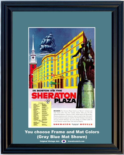 1955 55 Sheraton Plaza Hotel Boston Paul Revere Massachusetts Vacation Travel Vintage Ad
