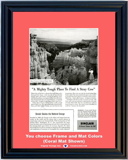1955 55 Sinclair Oil Bryce Canyon National Park Utah Stray Cow Grange Vacation Travel Vintage Ad