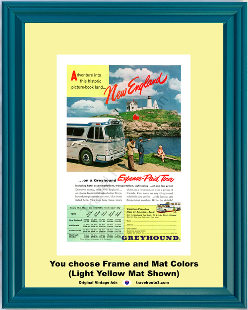 1955 55 Greyhound New England Lighthouse Ocean Vacation Travel Tour Vintage Ad