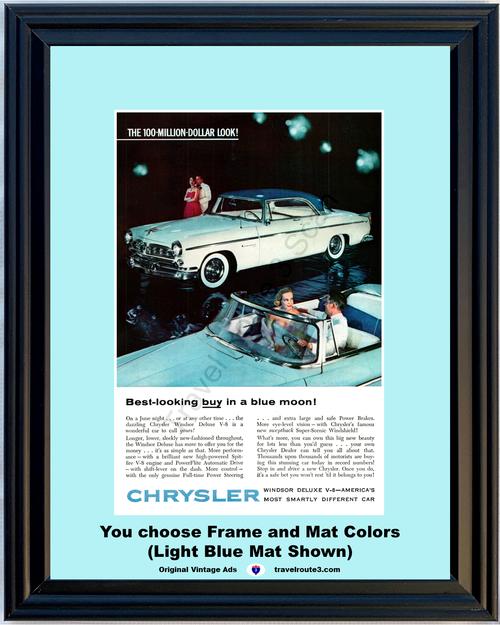 1955 55 Chrysler Windsor Deluxe V8 Convertible 2 Door Hardtop Once in a Blue Moon Vintage Ad