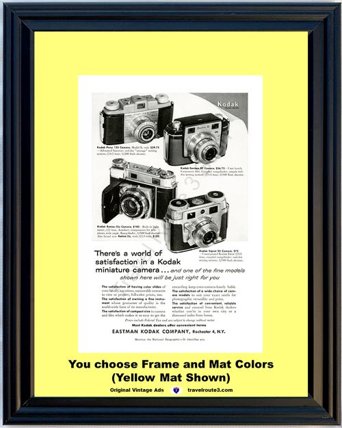 1955 55 Eastman Kodak Miniature Cameras Pony Bantam Retina Signal 35mm Vintage Ad
