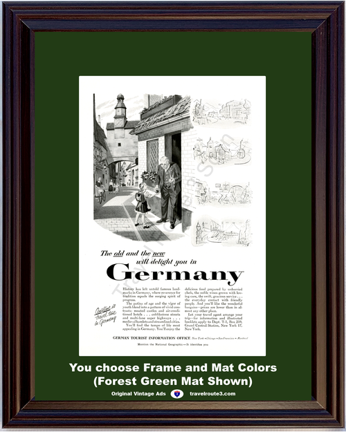 1955 55 Germany Castles Cobblestone Streets Medieval Hamlets Old and New Vacation Travel Vintage Ad