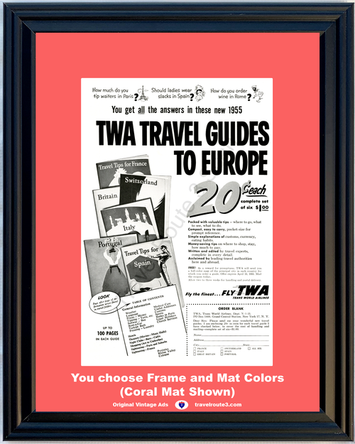 1955 55 TWA Trans World Airlines Europe Travel Guides Vacation Travel Vintage Ad
