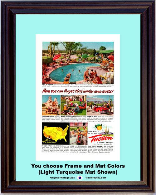 1955 55 Tucson Vacationland Swimming San Xavier Mission Sun Friendly Arizona Vacation Travel Vintage Ad