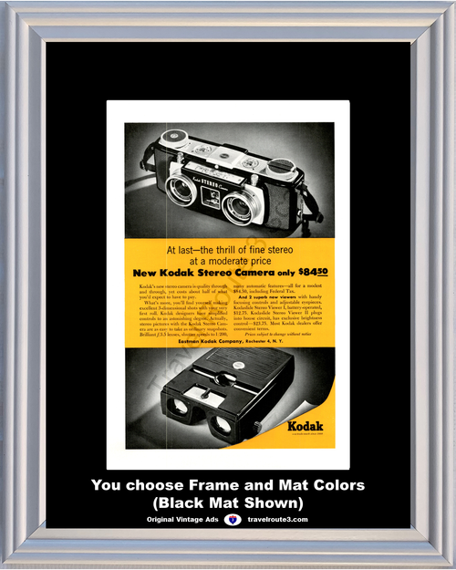 1955 55 Eastman Kodak Stereo Camera 3 Dimensional Kodaslide Viewer I II Vintage Ad