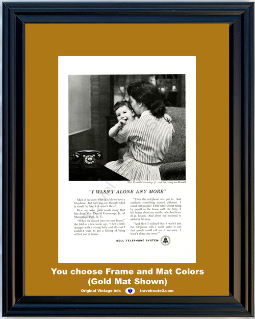 1955 55 Bell Telephone I Wasn't Alone Any More Story Mom Baby Antique Phone Vintage Ad