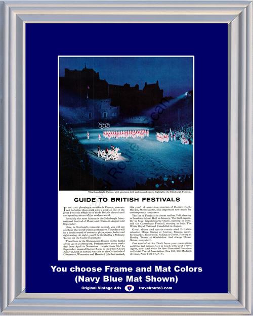 1955 55 British Festivals Searchlight Tattoo Scotland Edinburgh Festival Vacation Music Drama Travel Vintage Ad