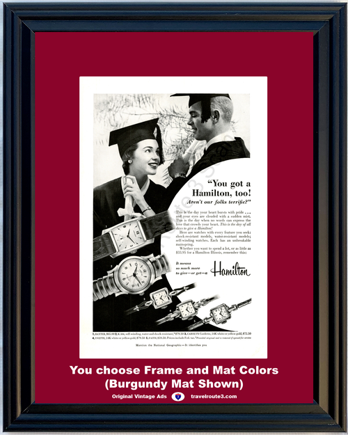1955 55 Hamilton Wrist Watch Graduation Baxter K-504 Carolyn Cordette Yvette Faith Vintage Ad