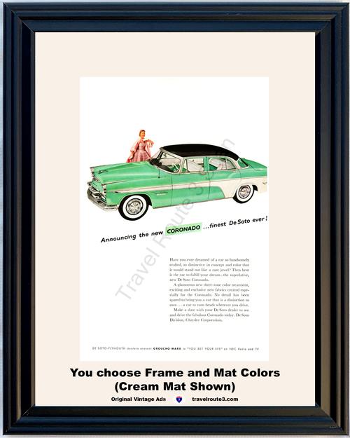1955 55 De Soto Coronado Green 4 Door Sedan Plymouth Groucho Marx NBC Vintage Ad
