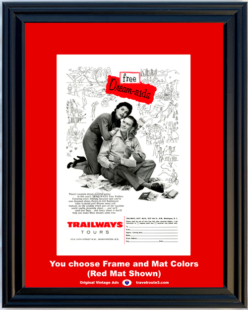 1955 55 Trailways Tours Bus Line Free Dream Aids Vacation Travel Vintage Ad