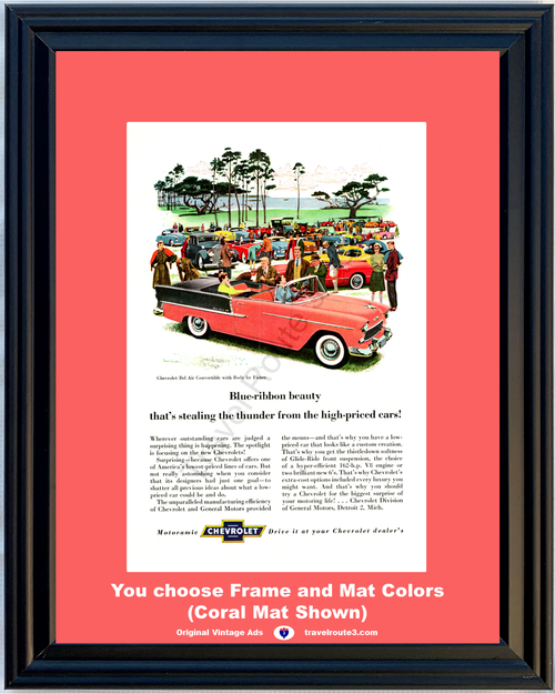 1955 55 Chevrolet Chevy Bel Air Convertible Body by Fisher Blue Ribbon Car Show Vintage Ad