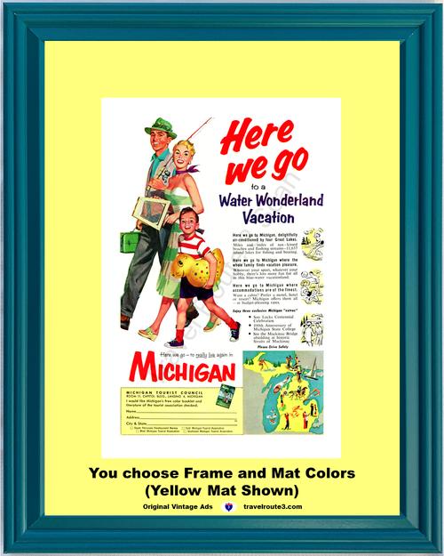 1955 55 Michigan Water Wonderland Vacation Fishing Great Lakes Travel Vintage Ad