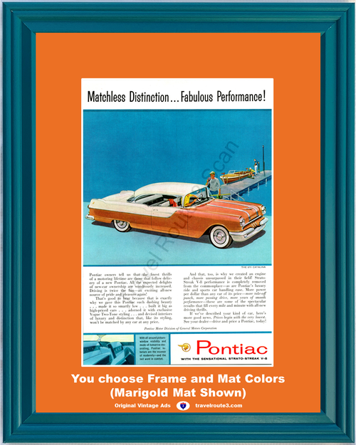 1955 55 Pontiac Catalina 870 2 Door Hardtop Driving Performance Boat Pier Vintage Ad