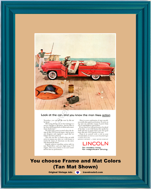 1955 55 Lincoln Capri Convertible Red Fishing Pier Vintage Ad