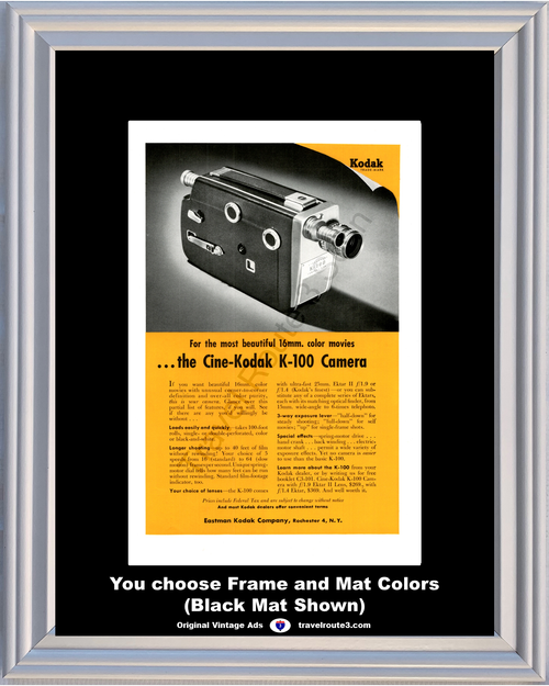 1955 55 Cine-Kodak K-100 16mm Color Movies Projector Film Ektar II Vintage Ad