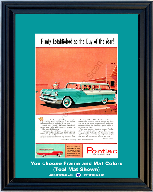 1955 55 Pontiac Chieftain 870 4 Door Station Wagon Safari Twin Streak Strato Vintage Ad