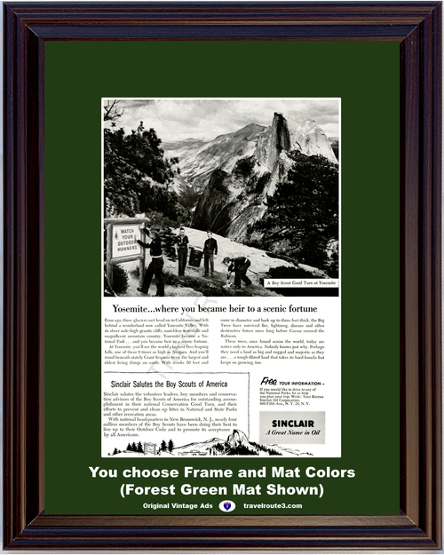 1955 55 Sinclair Oil Yosemite National Park Boy Scouts of America Valley Vacation Travel Vintage Ad