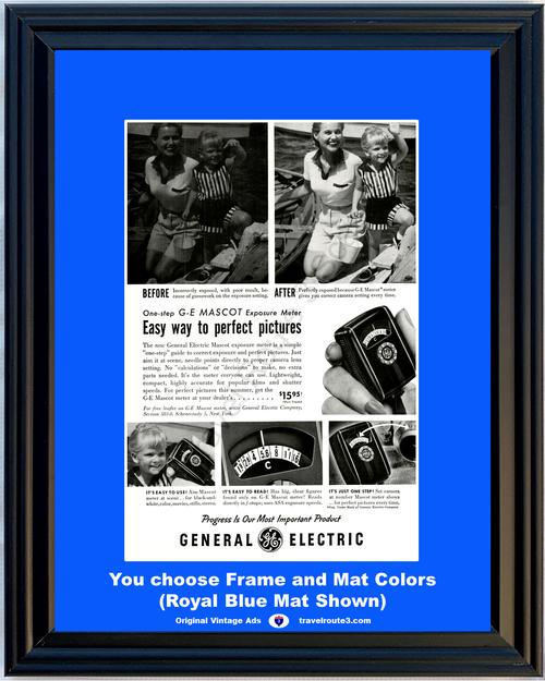 1955 55 General Electric GE Mascot Exposure Meter Camera Picture Photos Vintage Ad