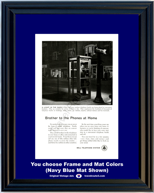 1955 55 Bell Telephone System Pay Phone Booth Light in the Dark Street Vintage Ad