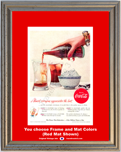 1955 55 Coca Cola Serve Ice Cold Coke Taste Feel Enjoy Pause That Refreshes Vintage Ad