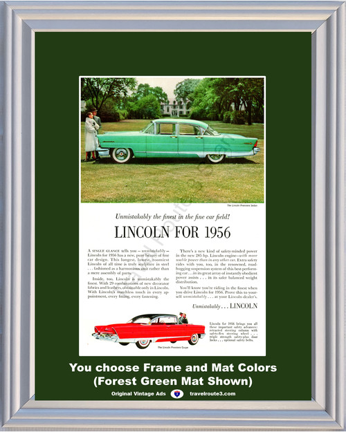 1955 55 Lincoln Premiere 4 Door Sedan Green Premiere 2 Door Coupe Red Mansion Vintage Ad
