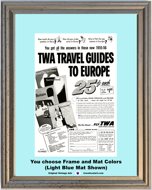 1955 55 TWA Trans World Airlines France Switzerland Britain Italy Germany Vacation Travel Vintage Ad