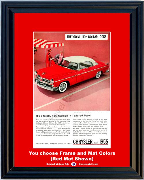 1955 55 Chrysler Windsor Deluxe Nassau 2 Door Hardtop Tango Red Platinum Vintage Ad