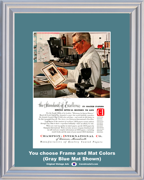 1955 55 Champion International Bausch & Lomb Optometrist Quality Coated Paper Vintage Ad