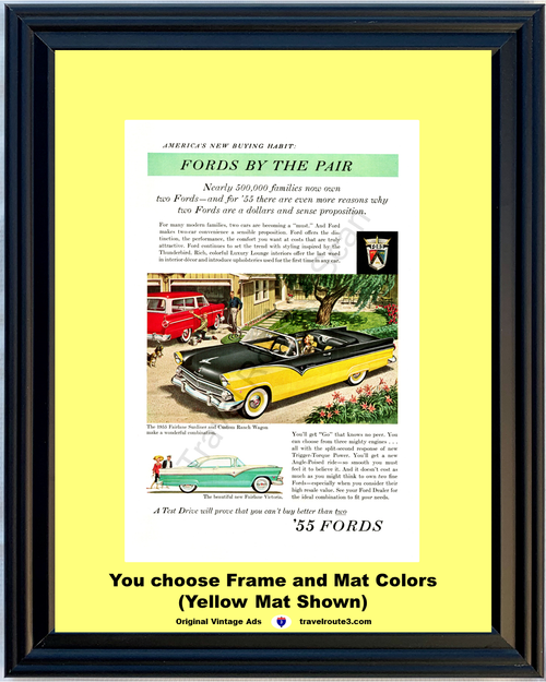 1955 Ford Fairlane Sunliner Convertible Vintage Ad 55 Custom Ranch Wagon Victoria By The Pair 55 *You Choose Frame-Mat Colors-Free USA S&H