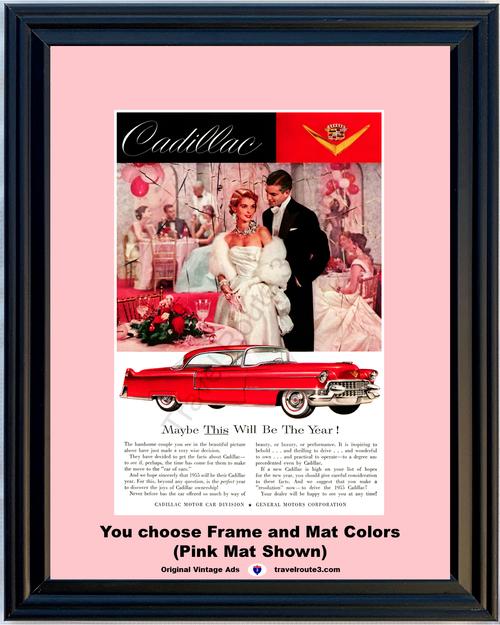 1955 55 Cadillac Coupe de Ville Valentine's Day Red 2 Door Hardtop Vintage Ad