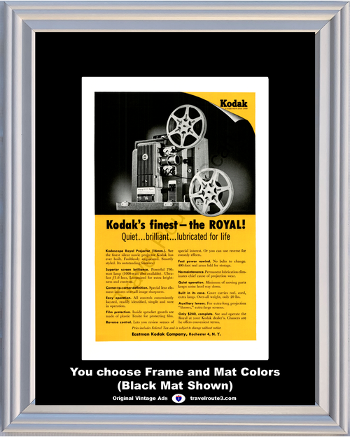 1955 55 Kodak Kodascope Royal Projector 16mm Film 400 Foot Real Arm Vintage Ad