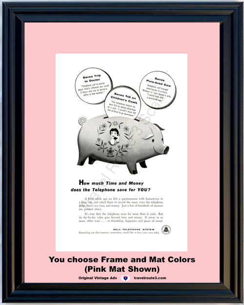 1955 Bell Telephone Piggy Bank Vintage Ad Saving Money Pig Save Phone 55 *You Choose Frame-Mat Colors-Free USA S&H*