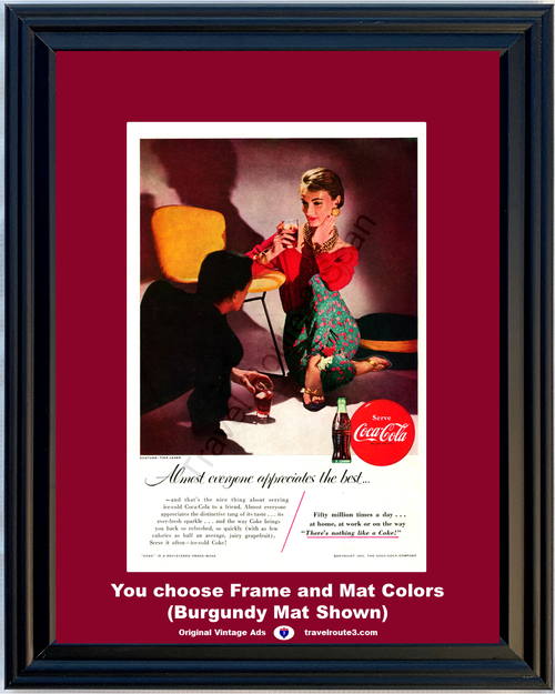 1955 Serve Coca Cola Coke Vintage Ad There's Nothing Like a Coke Ice Cold 55 *You Choose Frame-Mat Colors-Free USA S&H*