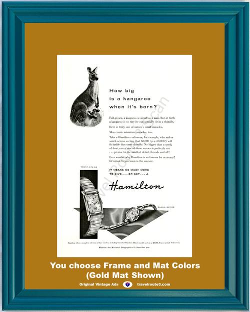 1955 Hamilton Wrist Watch Vintage Ad Trent Clara Kangaroo Baby 55 *You Choose Frame-Mat Colors-Free USA S&H*