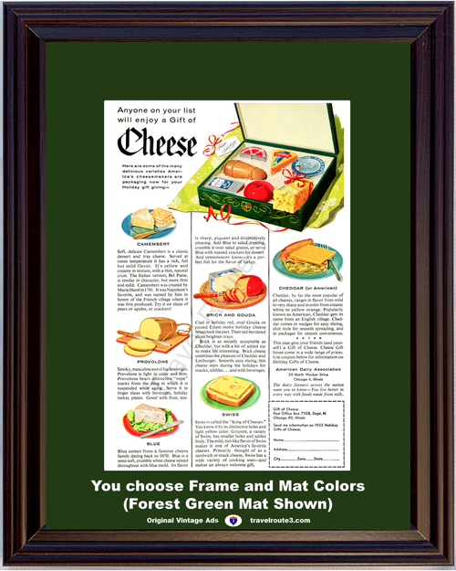 1955 American Dairy Association ADA Vintage Ad Cheese Merry Christmas Holiday Gift 55 *You Choose Frame-Mat Colors-Free USA S&H*