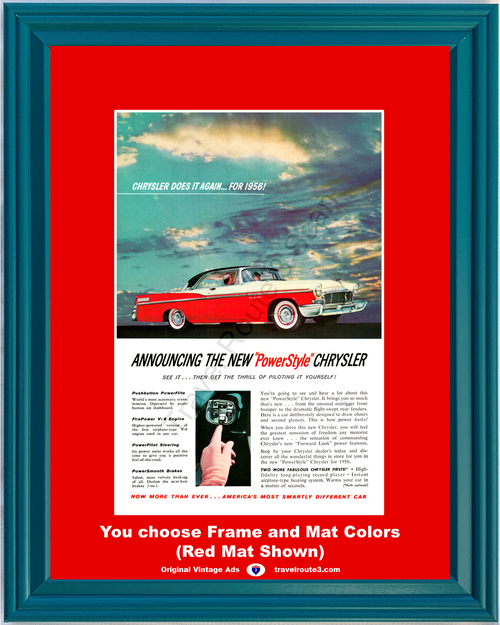 1956 Chrysler New Yorker Vintage Ad 56 Push Button Record Player Red Cream Late 1955 Ad *You Choose Frame-Mat Colors-Free USA S&H*