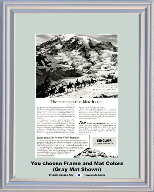 1955 Sinclair Oil Mt. Rainier National Park Vintage Ad Horses National Wildlife Federation Vacation Travel *You Choose Frame-Mat Colors-Free USA S&H*