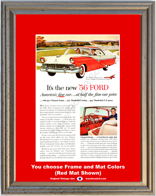 1956 Ford Fairlane Victoria Vintage Ad 56 2 Door Hardtop Seat Belts Safety First Late 1955 Ad *You Choose Frame-Mat Colors-Free USA S&H*