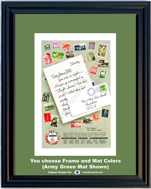 1955 European Austria Denmark France Vintage Ad Germany Great Britain Italy Spain Sweden Vacation Travel 55 *You Choose Frame-Mat Colors-Free USA S&H*