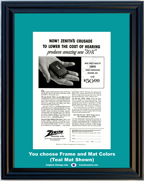 1955 Zenith Hearing Aids Vintage Ad 50-X Makers of TV and Radio Sets 55 *You Choose Frame-Mat Colors-Free USA S&H*