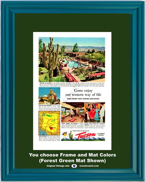 1955 Old Tucson San Xavier Mission Vintage Ad Desert Pool Cactus Friendly Arizona AZ Vacation Travel 55 *You Choose Frame-Mat Colors-Free USA S&H*