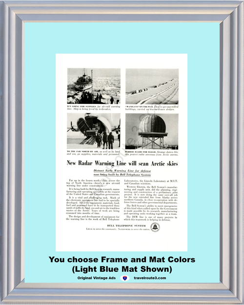 1955 Bell Telephone Arctic Defense Vintage Ad Early Warning Radar Icebreaker Phone 55 *You Choose Frame-Mat Colors-Free USA S&H*