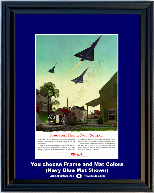 1955 Convair F-102A USAF Vintage Ad US Air Force Freedom Supersonic Jet Flight Air Plane Airplane Aircraft *You Choose Frame-Mat Colors-Free USA S&H*