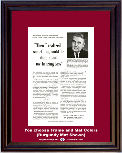 1955 Zenith Radio Hearing Aid Vintage Ad Charles Edison New Jersey NJ Television TV 55 *You Choose Frame-Mat Colors-Free USA S&H*
