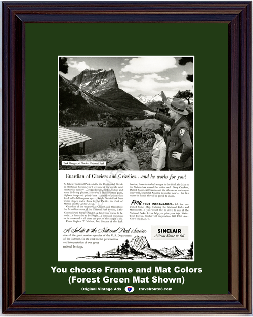1955 Sinclair Oil Glacier National Park Vintage Ad Ranger Glaciers and Grizzlies Vacation Travel 55 *You Choose Frame-Mat Colors-Free USA S&H*