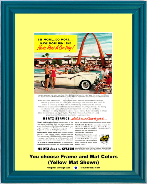 1955 Hertz Rent A Car Ford Sunliner Vintage Ad Convertible Desert Inn Las Vegas Nevada Vacation Travel 55 *You Choose Frame-Mat Colors-Free USA S&H*