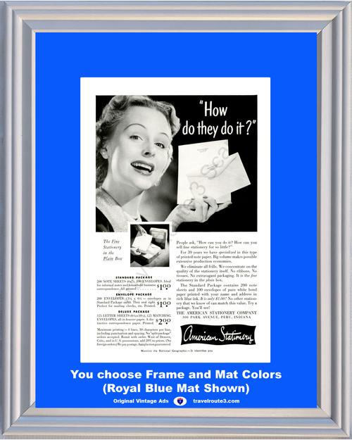 1955 American Stationery Vintage Ad Fine Paper Sheets Envelopes 55 *You Choose Frame-Mat Colors-Free USA S&H*